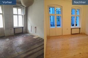 Sanierung Altbauwohnung Zimmer vorher nachher